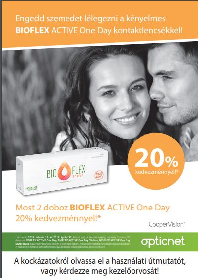 Bioflex napi kontaktlencsék 20 % kedvezménnyel!