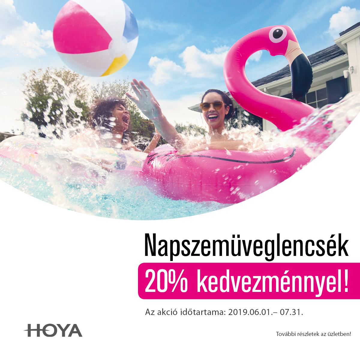 Hoya dioptriás napszemüveglencsék  20 % kedvezménnyel.