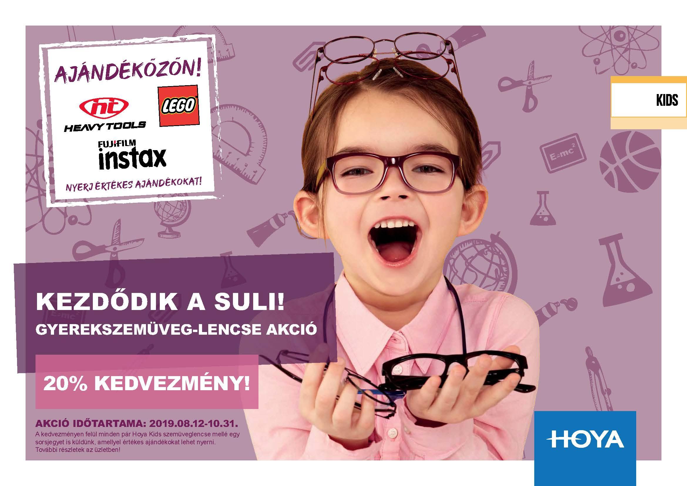 Hoya KIDS szemüveglencse kedvezmény ajándék sorsjeggyel!
