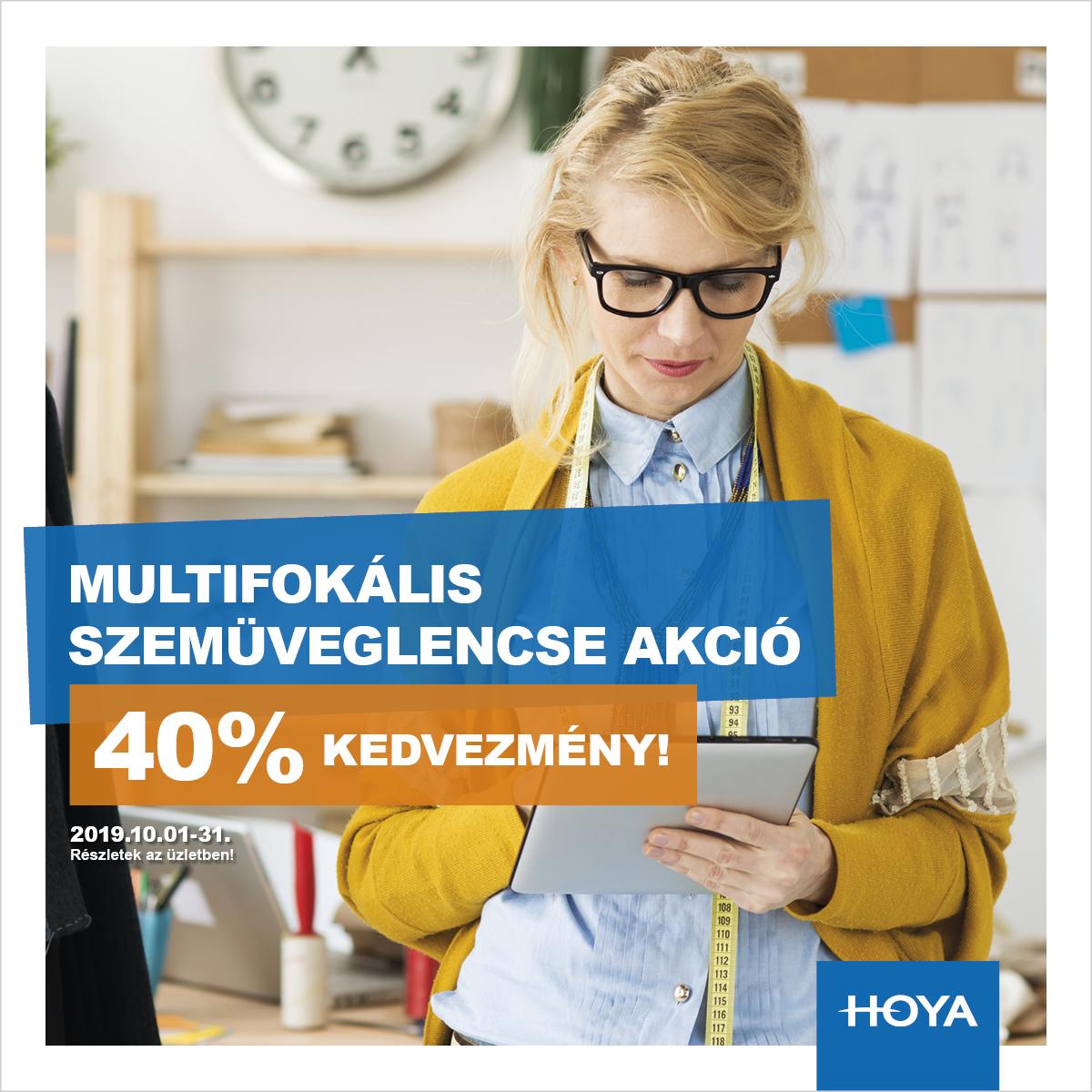 Hoya multifokális szemüveglencsék 40% kedvezménnyel!